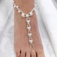 Pearl and Rhinestone Foot Jewelry - One Pair