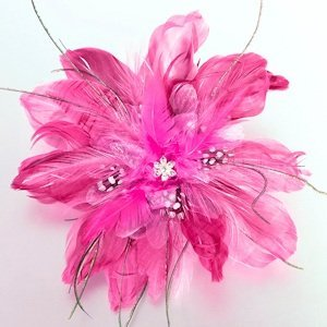 Feather Hair Clip-Hot Pink image