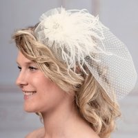 Ivory Veil with Marabou Feather