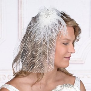 White Veil with Marabou Feather image