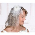 White Veil with Marabou Feather