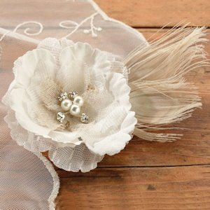 Burlap and Lace Hair Clip/Decoration image