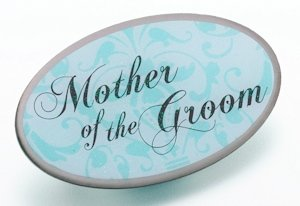 Mother of Groom Pin - Oval Aqua image