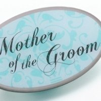 Mother of Groom Pin - Oval Aqua