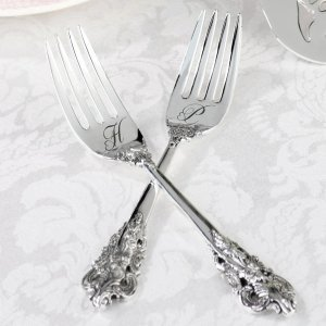 Silver Plated Wedding Fork Set (2 Personalized Options) image
