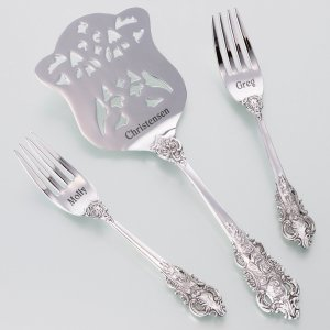 Wedding Cake Server and Fork Set (2 Personalized Options) image