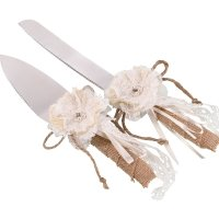 Burlap and Lace Knife & Server