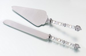 Beaded Wedding Cake Knife and Server Set image