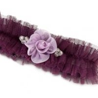 Tulle Garter with Flower-Plum