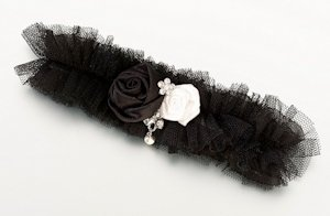 Tulle Garter with Jewel-Black image