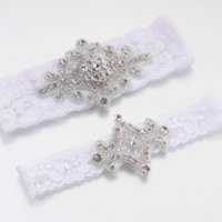 Jeweled Garter Set (White or Ivory)