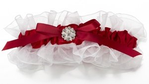 Red & White Vines Satin Garter image
