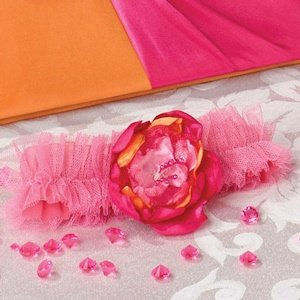 Hot Pink & Orange Tulle Garter image