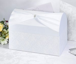 White Sash Wedding Reception Gift Card Box image