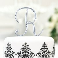 Silver Rhinestone Initial Cake Toppers for Weddings