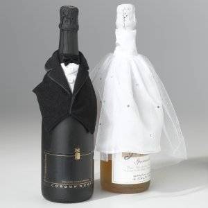 Bride & Groom Bottle Cover Set image