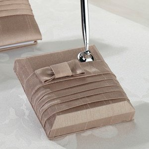 Taupe Bow Pleated Silk Pen Set image
