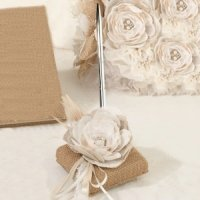 Burlap and Lace Pen Set