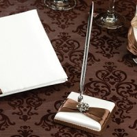 Jeweled Brown Bow Pen Set