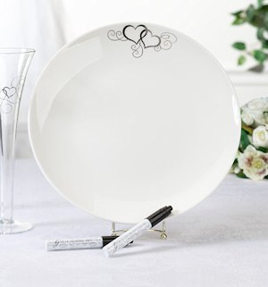 Round Double Heart Wedding Signature Plate image
