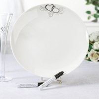 Round Double Heart Wedding Signature Plate
