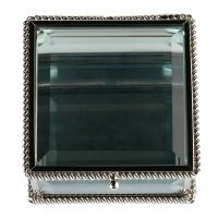 Silver Square Glass Ring Box