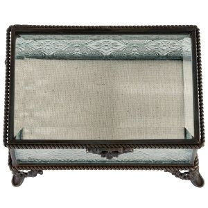 Rustic Rectangular Glass Ring Box image