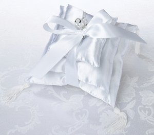 White Satin Stacked Ring Pillow Trio image