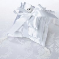 White Satin Stacked Ring Pillow Trio