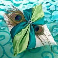 Peacock Flair Wedding Ring Pillow