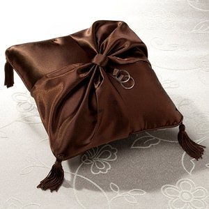 Brown Satin Ring Bearer Pillow image