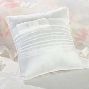 White Bow Pleated Silk Ring Boy Pillow image