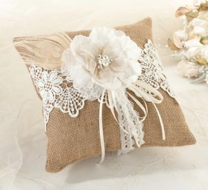 Burlap and Lace Ring Pillow image