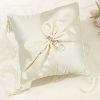 Ivory Sash Rhinestone Collection Ring Pillow