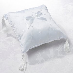 Elegant White Satin Ring Pillow image