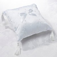 Elegant White Satin Ring Pillow