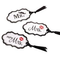 Mustache & Red Lips Luggage Tags