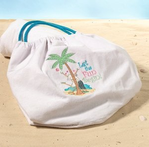 Flip Flop Love Theme White Cloth Beach Bag image