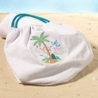 Flip Flop Love Theme White Cloth Beach Bag