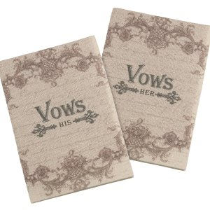 Set of 2 Tan His &Her Vows Books image