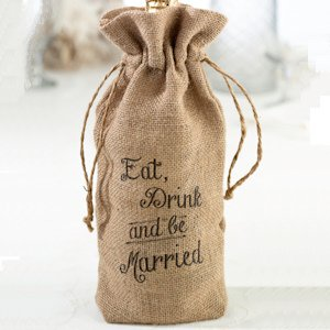 Eat- Drink and Be Married Burlap Wine Bag image