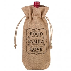 Burlap Wine Bag - Food & Family image