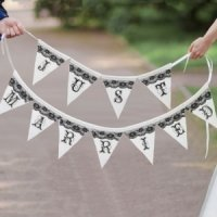 Just Married Black and White Banner