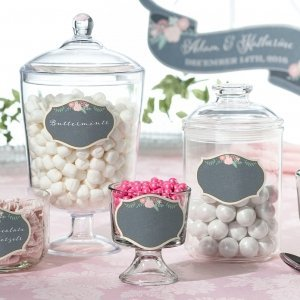 Shabby Chic Black and Pink Glass Cling (Set of 12) image