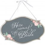 Shabby Chic Here Comes the Bride Oval Sign