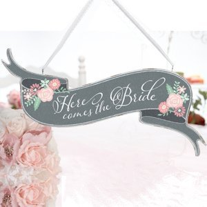 Shabby Chic Here Comes the Bride Banner Sign image