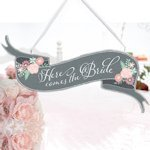 Shabby Chic Here Comes the Bride Banner Sign