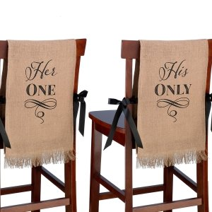 Her One His Only Wedding Chair Covers image