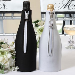 Wedding Wine Bottle Covers - Groom & Bride image