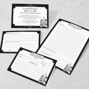 Black and White Bridal Shower Recipe Cards (Set of 24) image